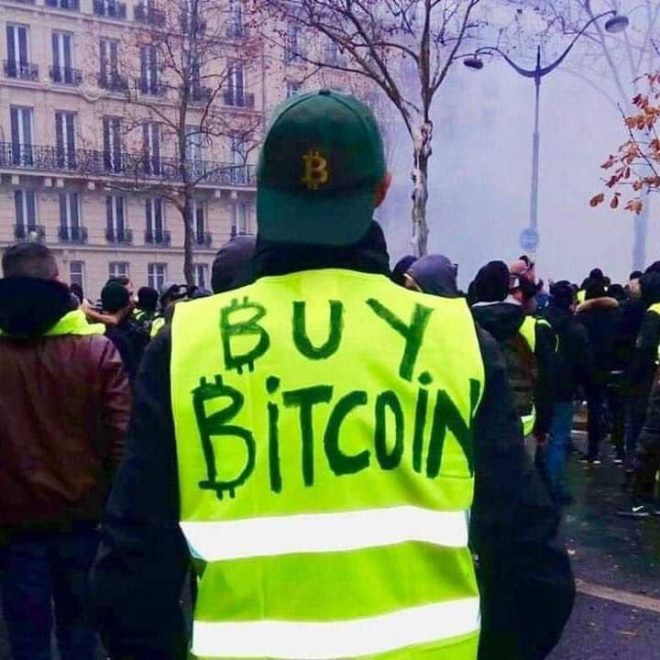 paris protests buy bitcoin
