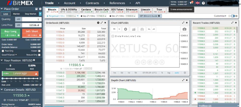 bitmex bitcoin exchange user interface