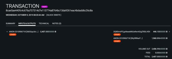 erste Transaktion nach Coinbase