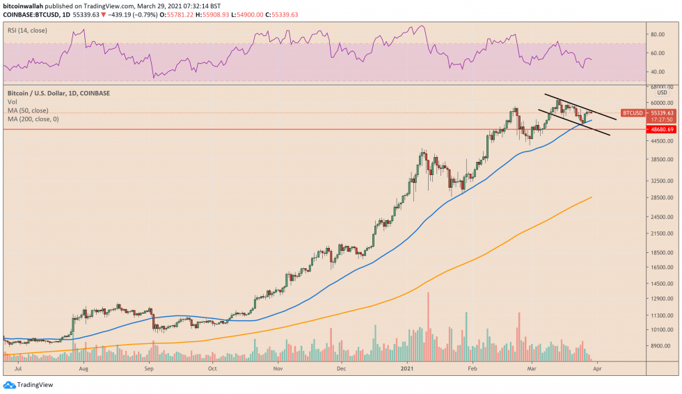 Bitcoin bounces off its 50-day moving average support. Source: BTCUSD on TradingView.com