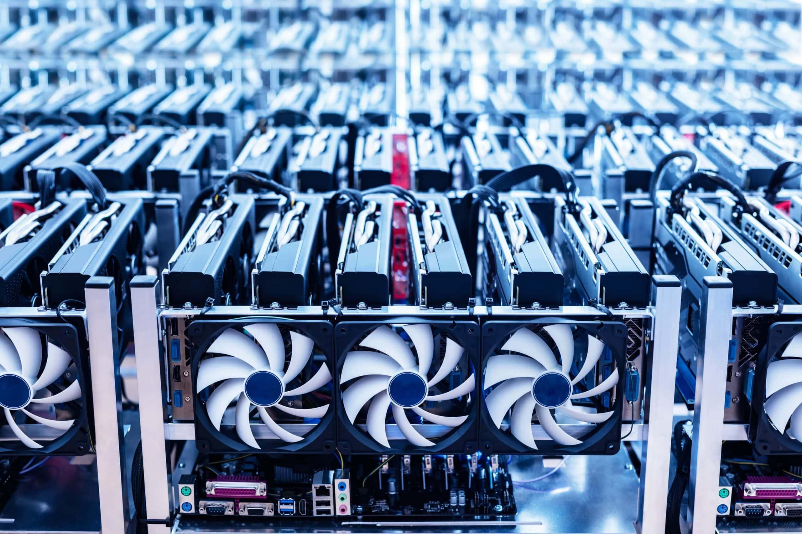 Bitcoin Mining Maschine blau